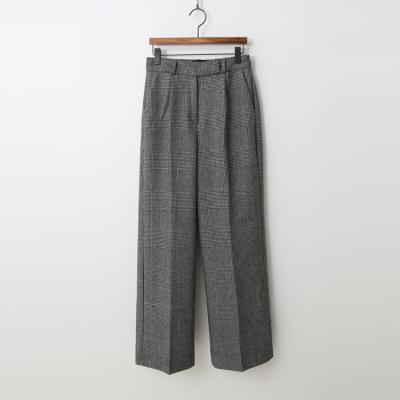 Wool Hound Check Wide Pants