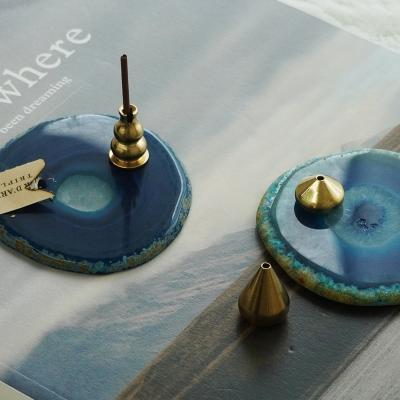 아게이트 원석 마블 트레이 인센스홀더 받침대 4color