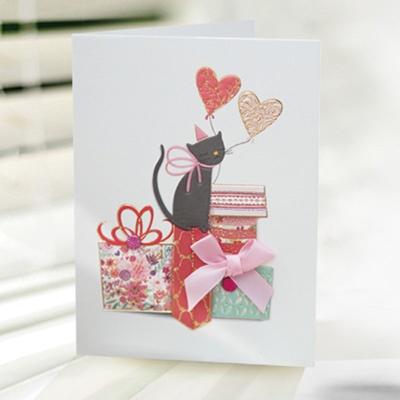 선물상자와 고양이 카드 FT1034-2