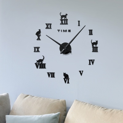 DIY 로마숫자 고양이 붙이는 벽시계(블랙)