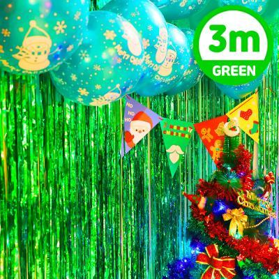 크리스마스 은박 파티 커튼 (1mX3m) 그린