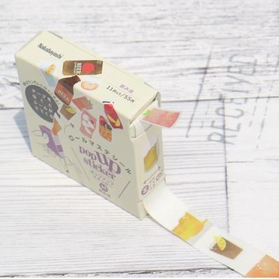 수첩,다이어리 데코..나카바야시 접착식 팝업 스티커-음료 F384-M02