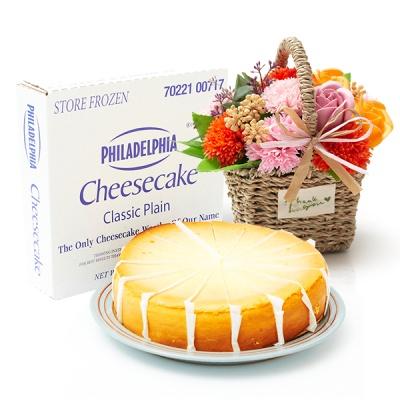 필라델피아 치즈케익 플레인(1700g)+비누꽃 마마바구니