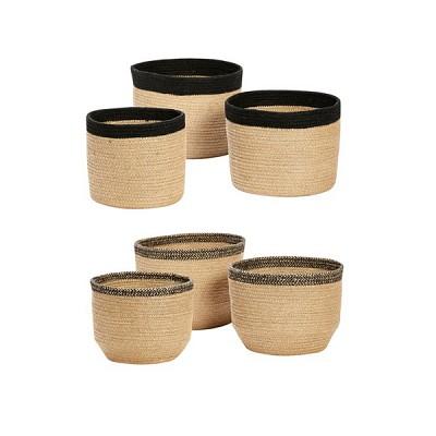 [Hubsch]Basket, Black Edge, round, jute, set of 3 바스켓