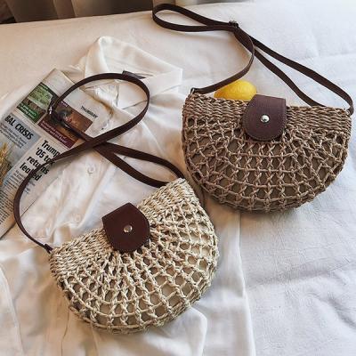 소풍 반달 라탄 크로스백 왕골가방