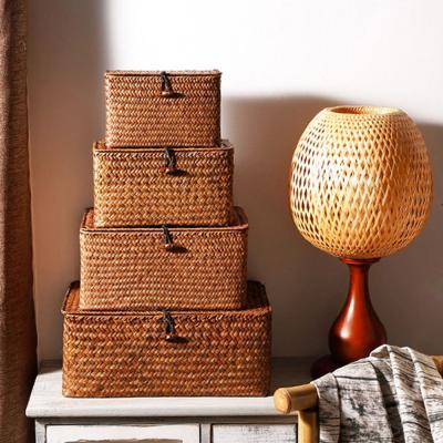 라탄 덮개형 사각 소품 수납 박스 바구니 (특대형)