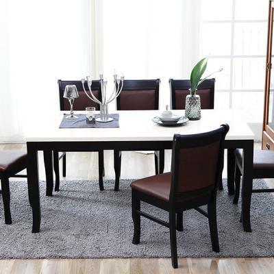 [이노센트플러스] 리브  느베르 6인 대리석 식탁세트(가죽의자)
