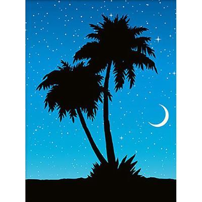 밤하늘 야자수 (패브릭) 보석십자수 액자세트 30x40