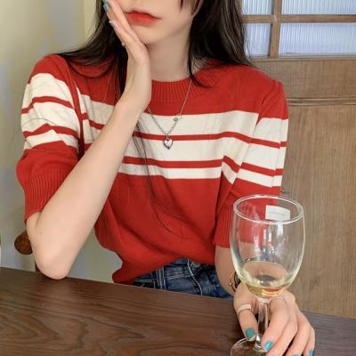 여성 여름 반팔티 티셔츠 레스 스트라이프 하프 니트