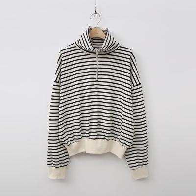 Stripe Zip-Up Crop Sweatshirt