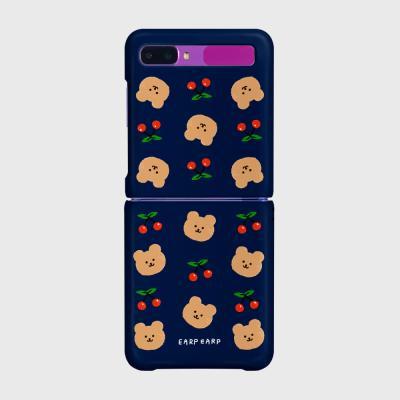 Dot cherry bear-navy(Z플립-하드)