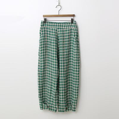Linen Check Button Pants