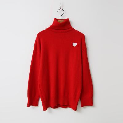 Heart Cotton Turtleneck Knit