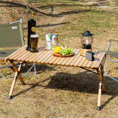휘릭 우드롤테이블 차박 캠핑 우드 테이블 선반