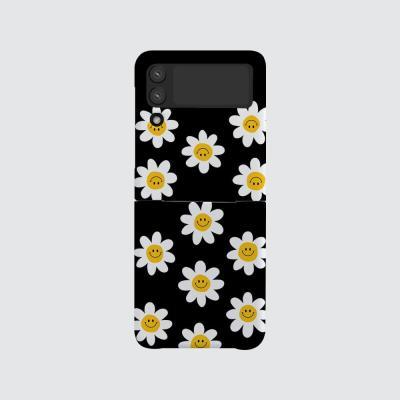 168cm(무광-Z플립3) 스마일 꽃 패턴 블랙