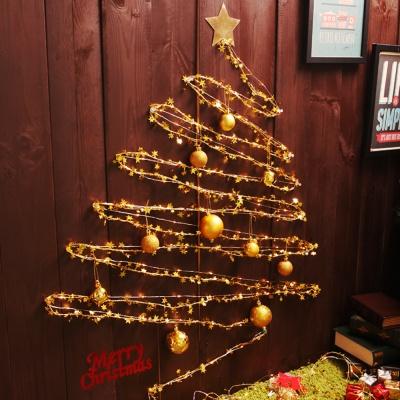 크리스마스 와이어 벽트리 세트 (골드)