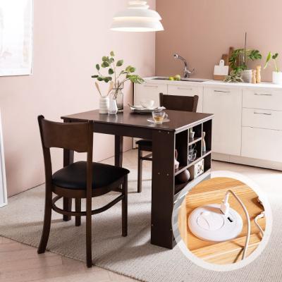 [채우리] 플러그인 2인 수납 식탁 세트(의자)