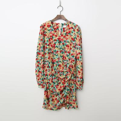 Queen Floral Shirring Mini Dress