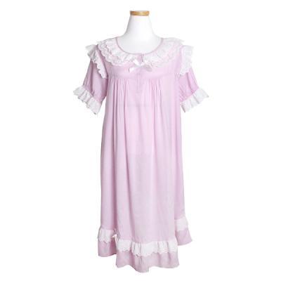 [쿠비카]펀칭 레이스 반팔 원피스 여성잠옷 W156
