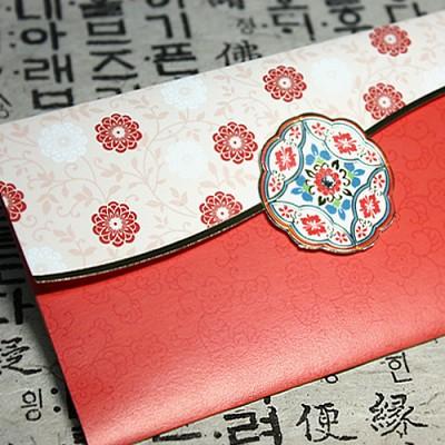 감사카드_전통문양(용돈+상품권봉투)_GC145 다홍