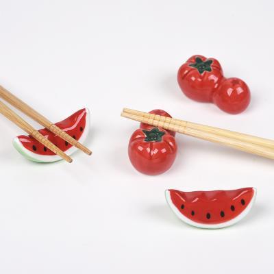 수박 토마토 수저 젓가락 받침 4개 세트