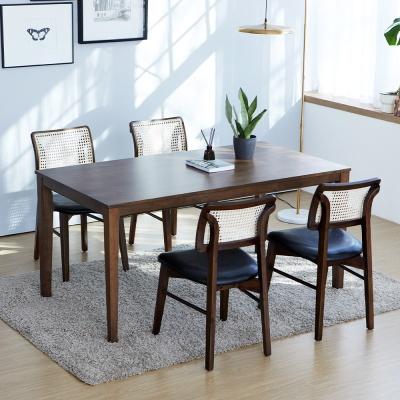 루디 데니라탄의자 4인와이드 테이블 원목 식탁세트