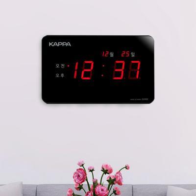 카파 D2900 고휘도 슈퍼 RED LED 디지털벽시계 블랙