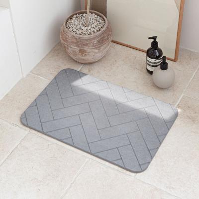 헤링본 디자인 3D 음각 규조토 발매트 욕실 화장실 L