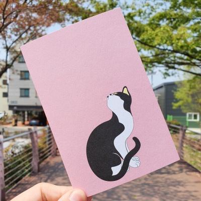 전통민화 꽃분홍색 묘작도 고양이 디자인 엽서