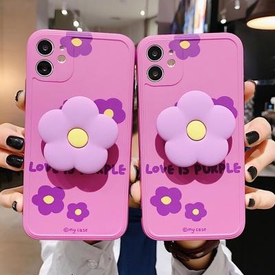 아이폰 예쁜 퍼플 플라워 그립톡 커플 실리콘 케이스