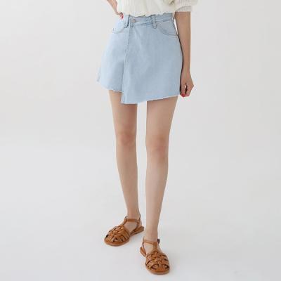 Unbal Denim Mini Skirt - 치마바지