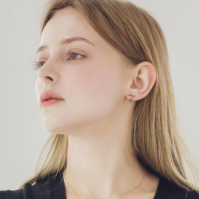 제이로렌 M03586 T자 꼬냑 로즈골드 원터치 귀걸이