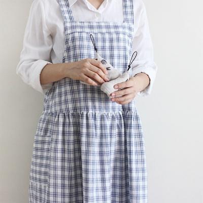 [콩지] 오선체크 멜빵 앞치마