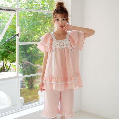 [쿠비카]로맨틱 아방한 핏 5부 투피스 여성잠옷 W611