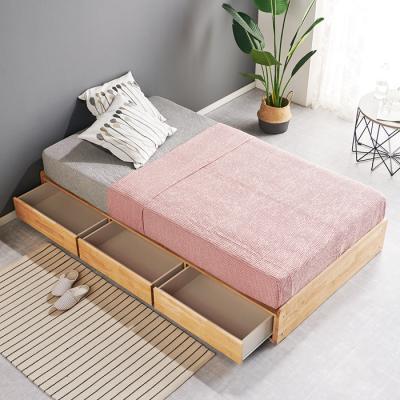 [노하우] 로뎅 고무나무원목 평상형 3서랍 침대 SS