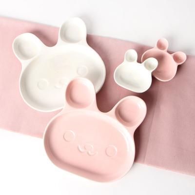 토끼 나눔접시 2PSet 핑크(대)+화이트(대) 접시