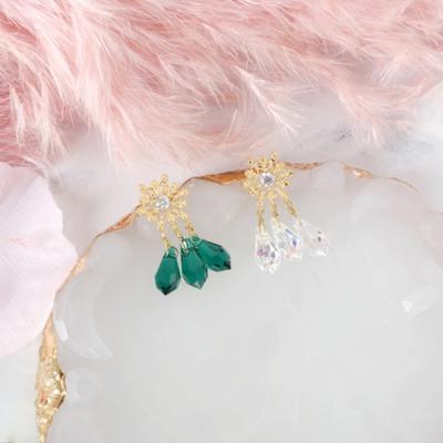 [쥬아나윤]눈꽃 스와로브스키 물방울 크리스탈 귀걸이