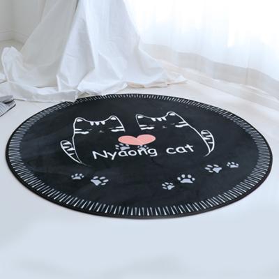 주노데코 극세사 고양이 카페트 원형 120cm
