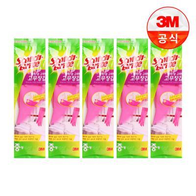 [3M]황토숯 고리형 고무장갑(중) 5개세트