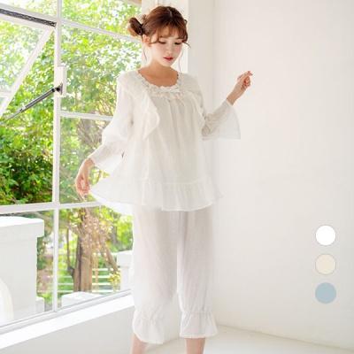 [쿠비카]바스트 라인 망사 7부 투피스 여성잠옷 W595