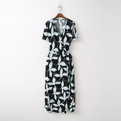 Leaf Wrap Long Dress - 반팔