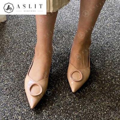 [애슬릿]라운드 장식 스틸레토 여성 플랫 슈즈 1.5cm