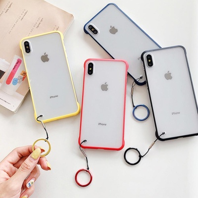 아이폰 슬림핏 반투명 하드 휴대폰 케이스 핑거링세트