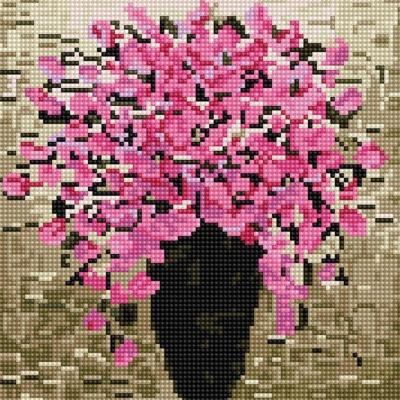 핑크 화분 (캔버스형) 보석십자수 25x25