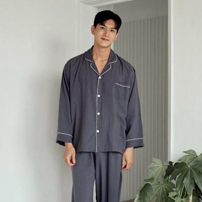 [쿠비카]산드라 샌드워싱 폴리 카라넥 남성잠옷 M251