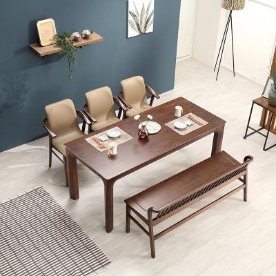 휴치 고무나무 원목 식탁 세트 6인용 벤치형 A
