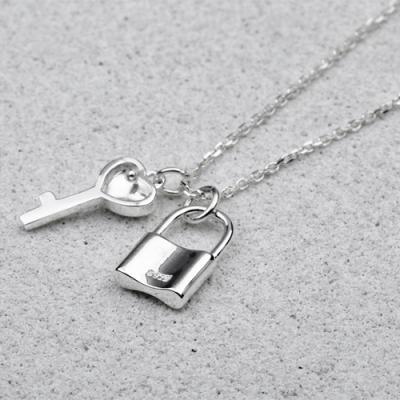 [애슬릿]전체 실버 자물쇠 하트 열쇠 체인 목걸이