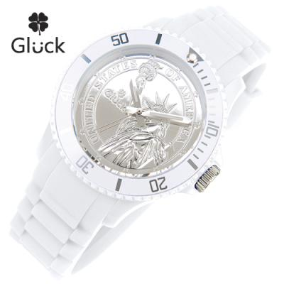 [Gluck]글륵 행운의 시계 GL1313-WH 본사정품 남여공용