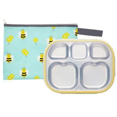 꿀벌대모험 하트형 옐로우 유아식판 뚜껑+파우치 포함