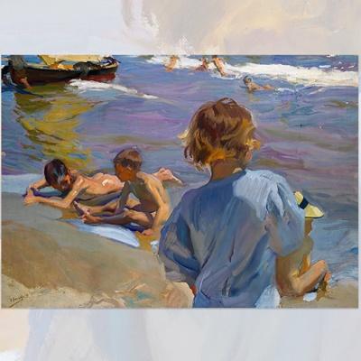 발렌시아 해변가의 아이들 - 보드액자